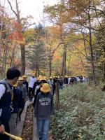 綺麗な紅葉の中を散策、マイナスイオンいっぱい